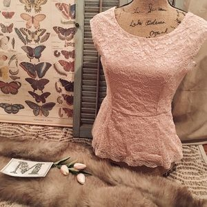 """Forever 21"" Pink Lace Blouse"
